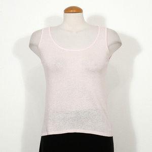 Pink Luxe Linen Cotton Blend Scoop Neck Tank Top S
